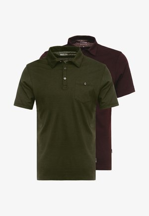 BASIC 2 PACK - Poloshirt - burgundy/khaki