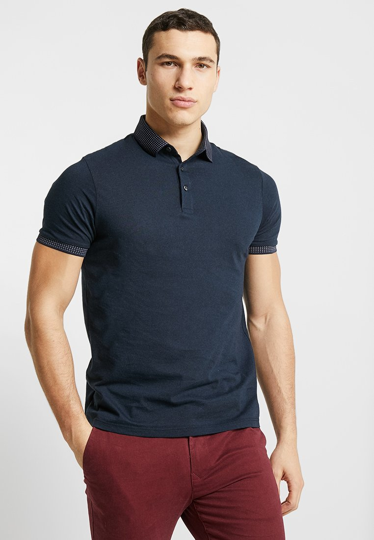 Burton Menswear London - JAQUARD COLLAR  - Poloshirt - navy