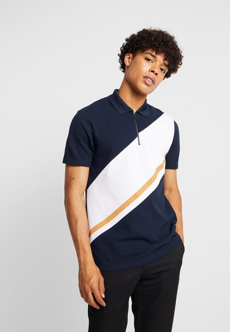 Burton Menswear London - PANELLING WITH ZIP FLAG - Poloshirt - navy