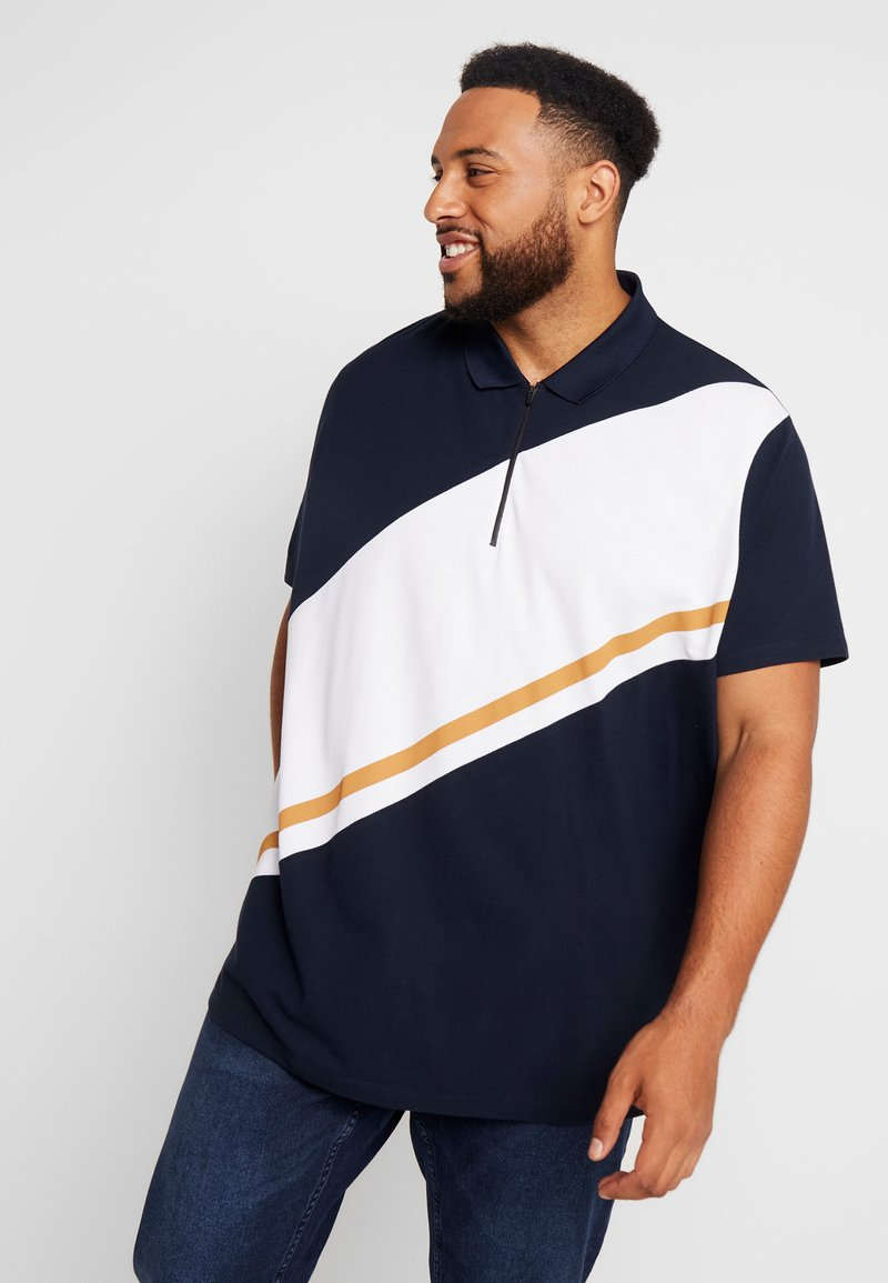 Burton Menswear London - PANELLING WITH ZIP FLAG - Polo shirt - navy