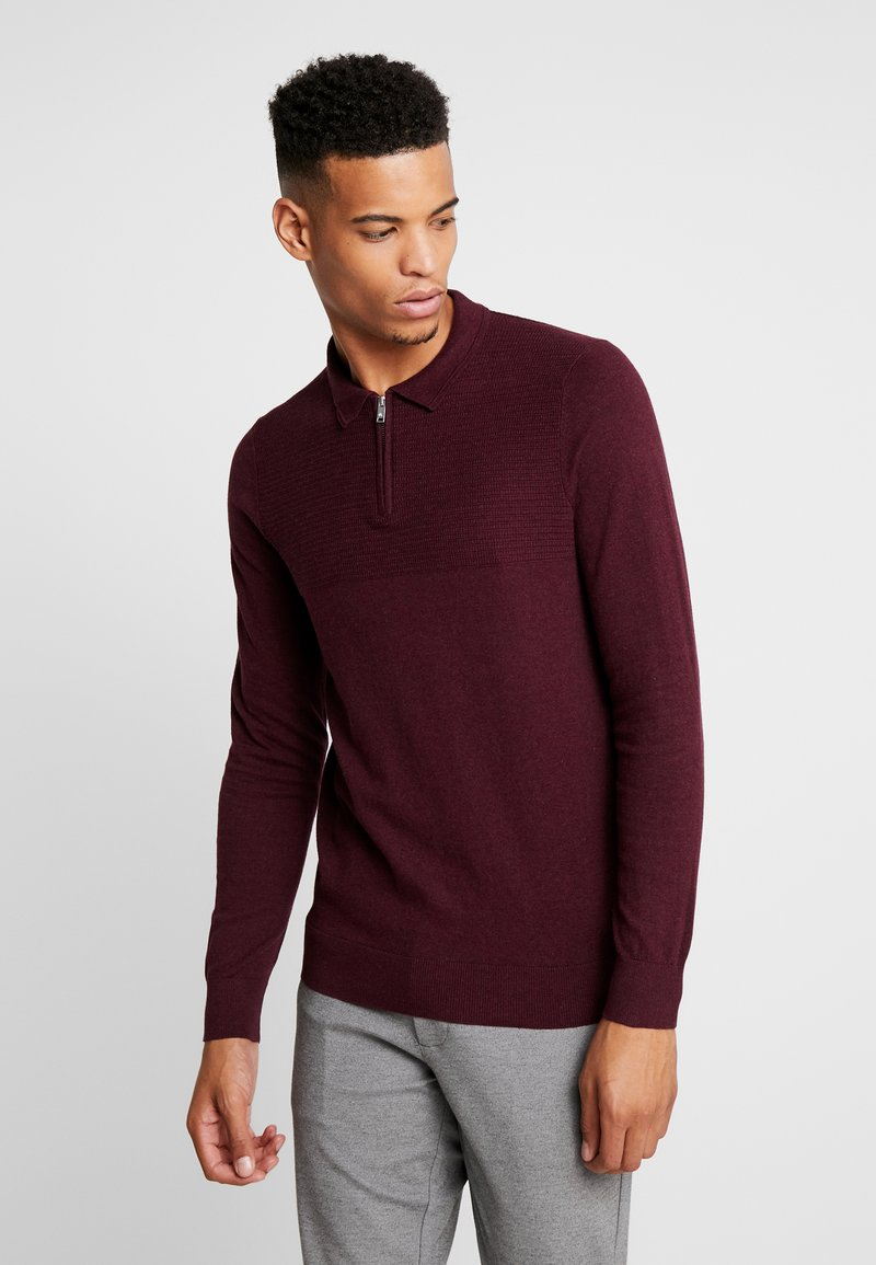 Burton Menswear London - CASTLE YOKE ZIP  - Maglione - burg