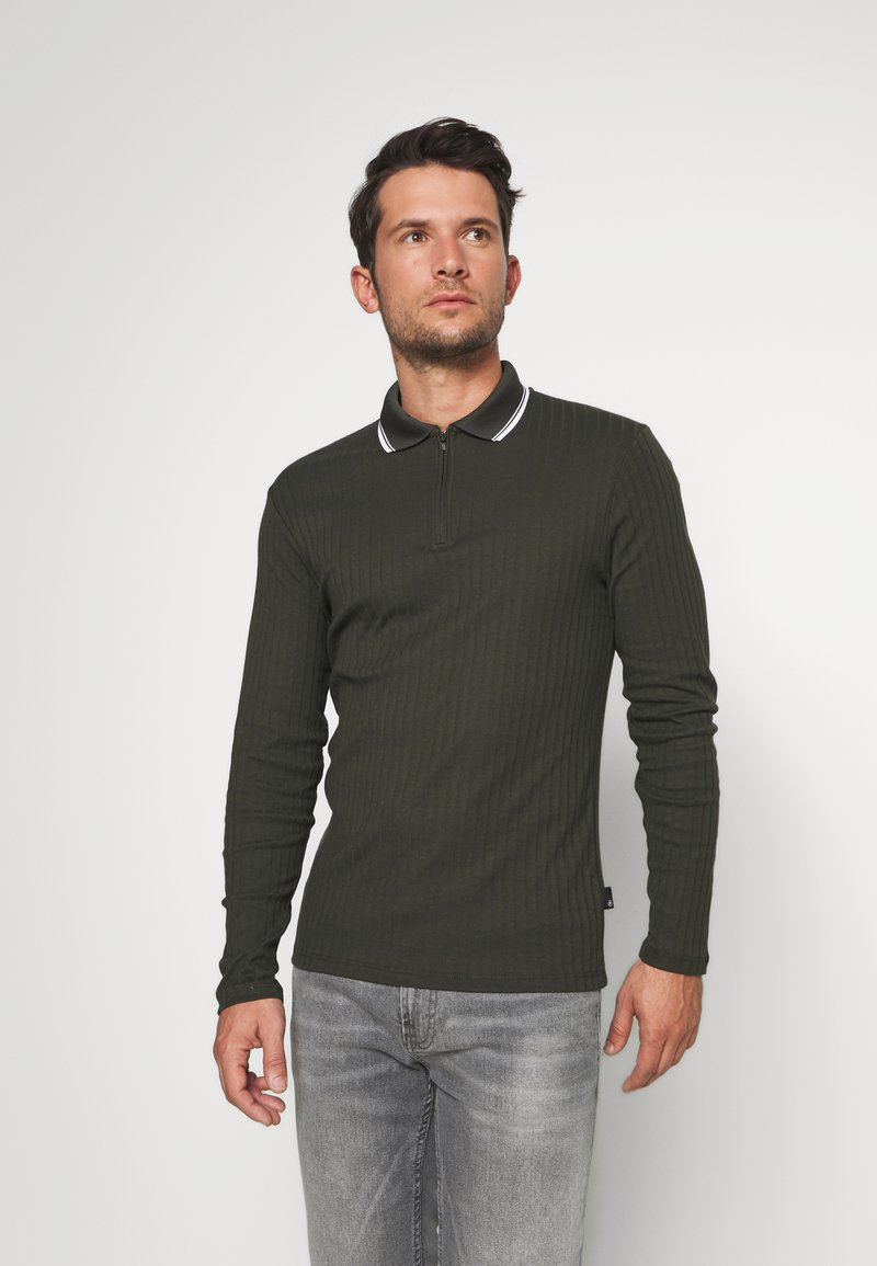 Burton Menswear London - ZIP POLO KHAKI - Polotričko - khaki