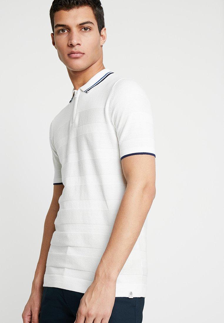 Burton Menswear London - TEXTURED STRIPE SPORT - Poloshirts - white