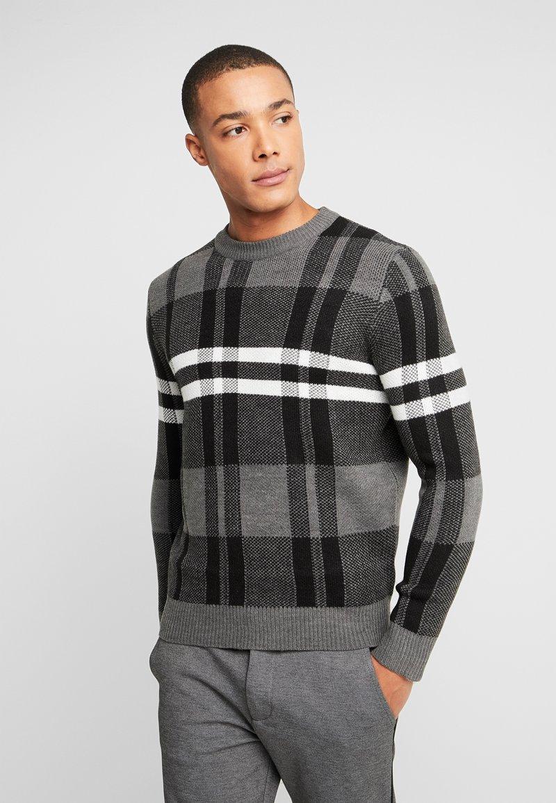 Burton Menswear London - BENJAMIN CHECK CREW  - Sweter - grey
