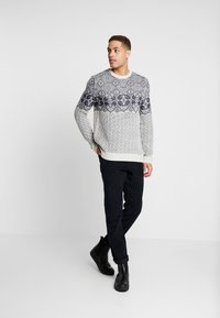 Burton Menswear London - VINTAGE CHEST YOKE - Jumper - taupe/beige - 1
