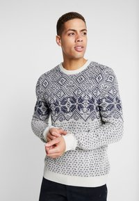 Burton Menswear London - VINTAGE CHEST YOKE - Jumper - taupe/beige - 0
