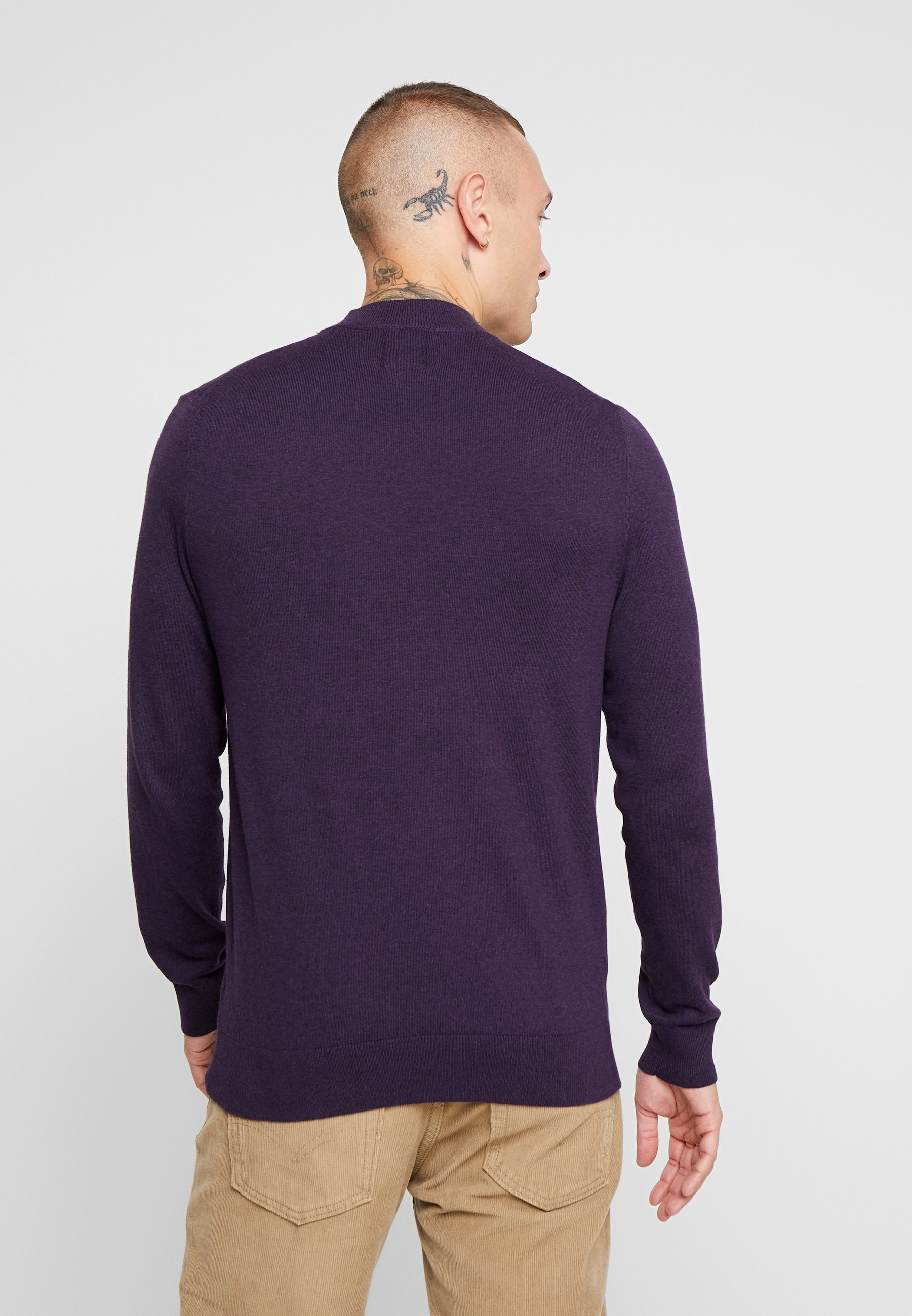 Burton Menswear London CORE TURTLE CHARCOAL - Sweter - purple