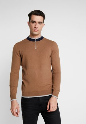ZIP NECK TURTLE TIPPED - Pullover - tobacco