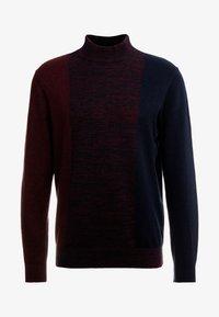 Burton Menswear London - VERTICAL COLOUR BLOCK HALF ROLL - Svetr - burgundy - 3