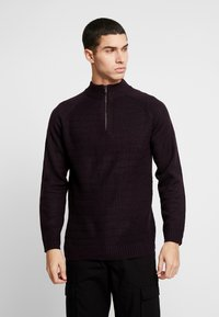 Burton Menswear London - HALF ZIP  - Trui - burgundy - 0