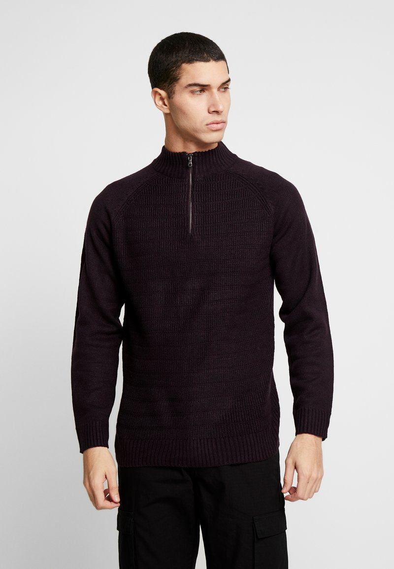 Burton Menswear London - HALF ZIP  - Trui - burgundy
