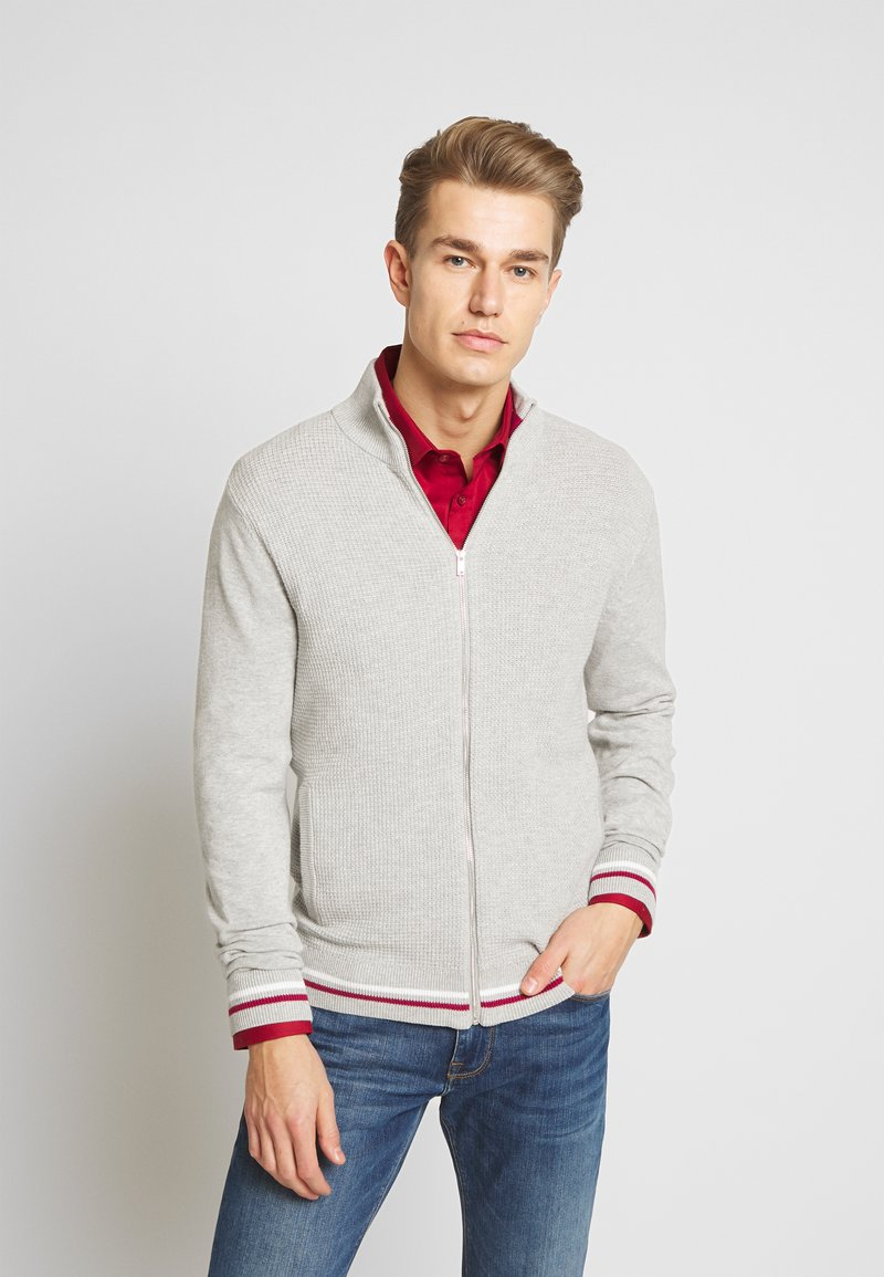 Burton Menswear London - TIPPED ZIP THRU - Neuletakki - grey