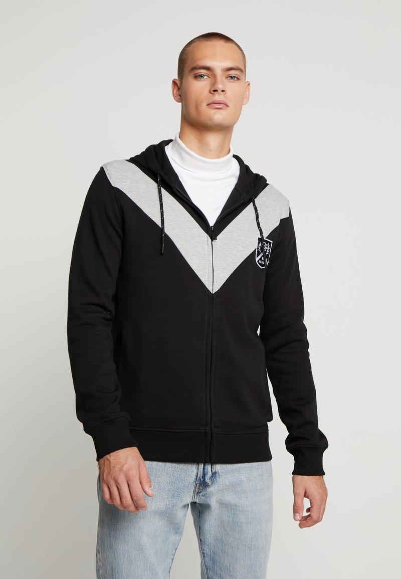 Burton Menswear London - CHEVRON SHIELD HOOD - Sudadera con cremallera - black