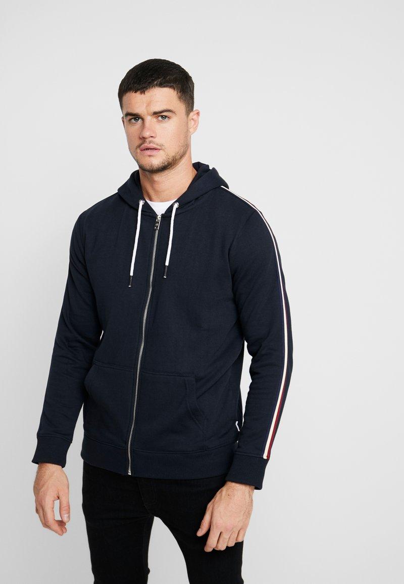 Burton Menswear London - SIDE TAPED HOOD - Zip-up hoodie - navy