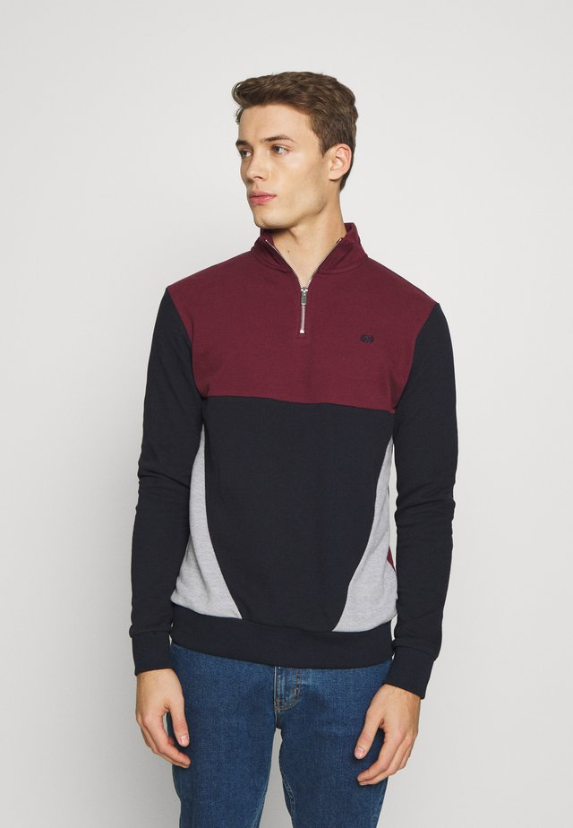 BUR C'BLOCK HALF ZIP - Sweatshirt - burgundy