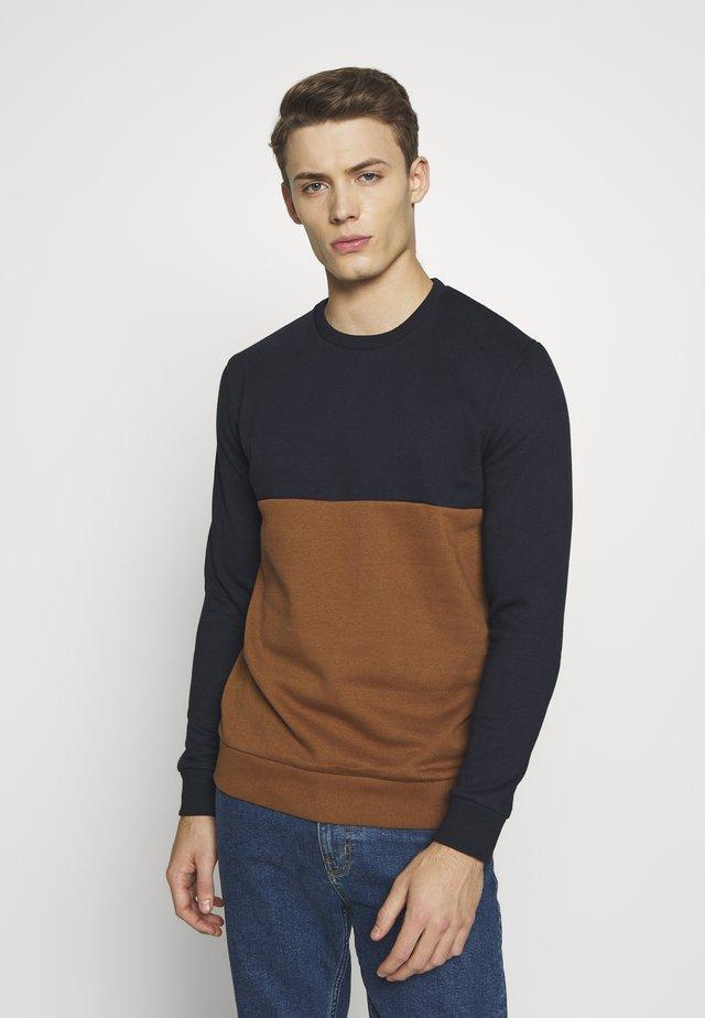 COLOUR BLOCK CREW - Sweater - navy