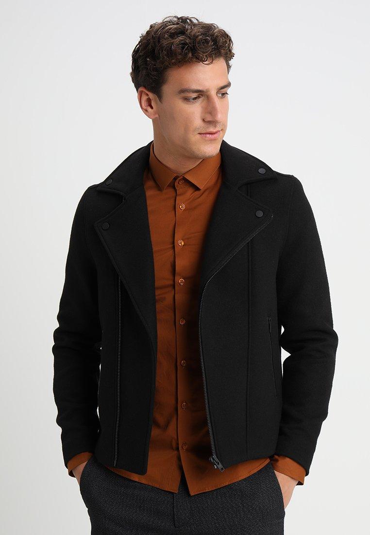 Burton Menswear London - FAUX ASYMATRIC BIKER - Leichte Jacke - black