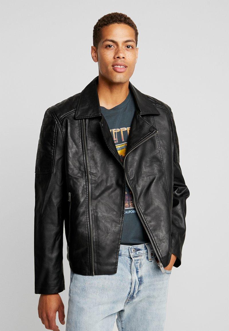 Burton Menswear London - BLACK BIKER - Faux leather jacket - black