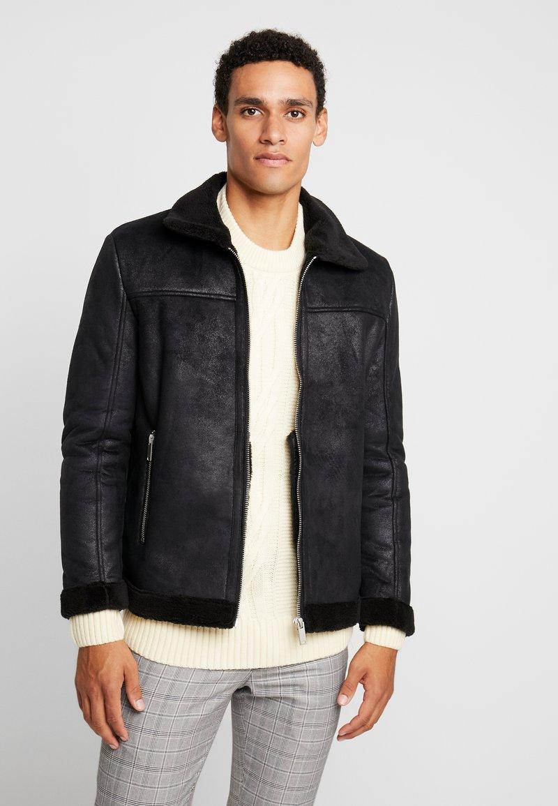 Burton Menswear London - SHEARLING BIKER - Kunstlederjacke - black