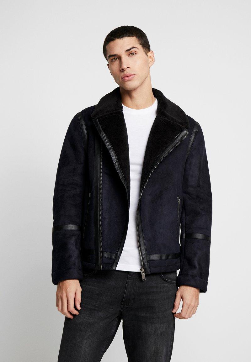Burton Menswear London - BIKER - Faux leather jacket - black