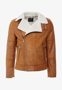 Burton Menswear London - BROWN SHEARLING  - Faux leather jacket - braun - 4