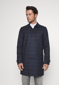 Burton Menswear London - CHECK LIGHTWEIGHT CARCOAT - Short coat - navy - 0