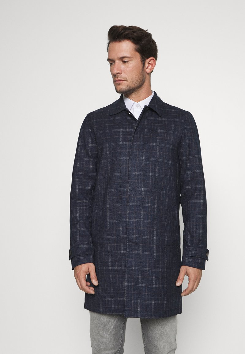 Burton Menswear London - CHECK LIGHTWEIGHT CARCOAT - Short coat - navy