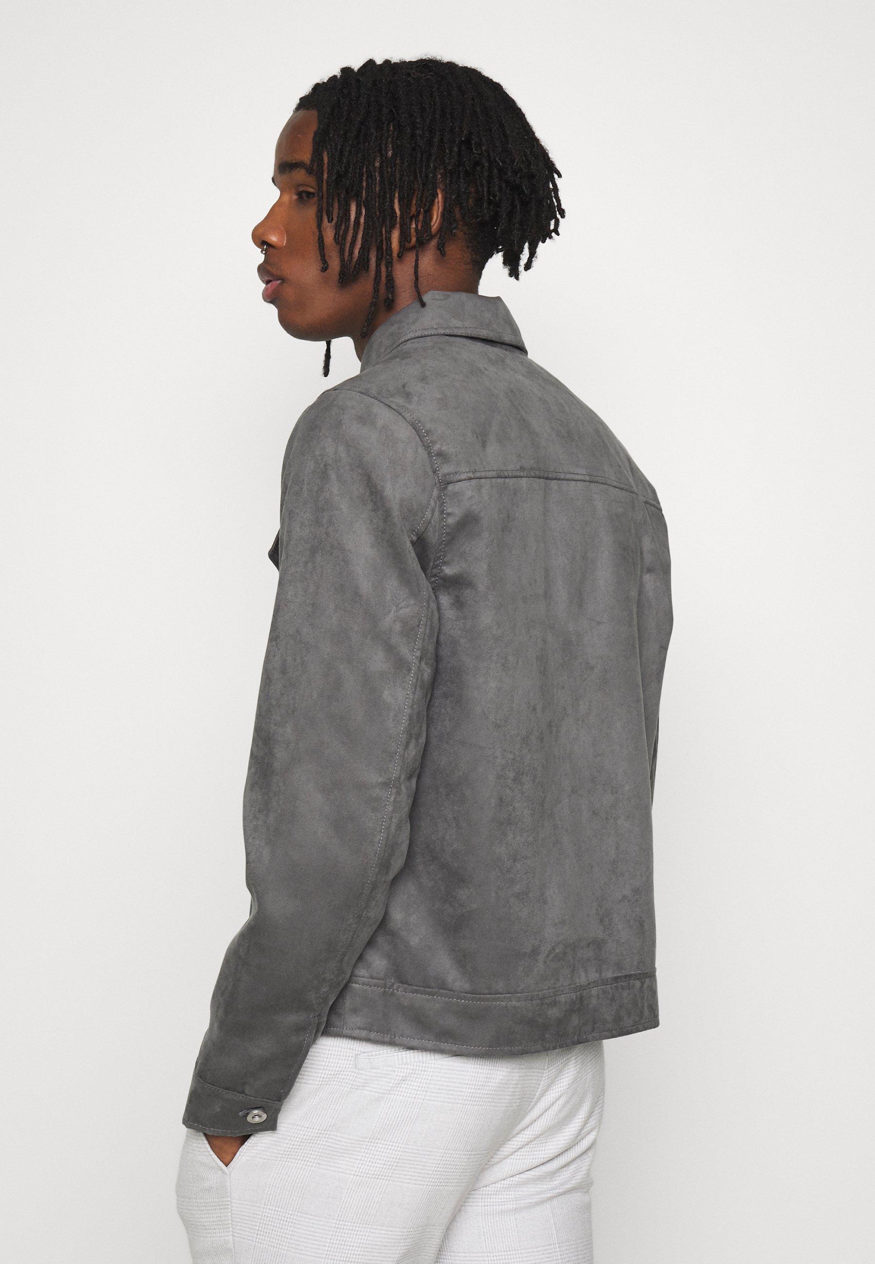 TRUCKER JACKET Imitatieleren jas grey