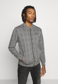 Burton Menswear London - CHECK BOMBER - Huvtröja med dragkedja - grey - 0