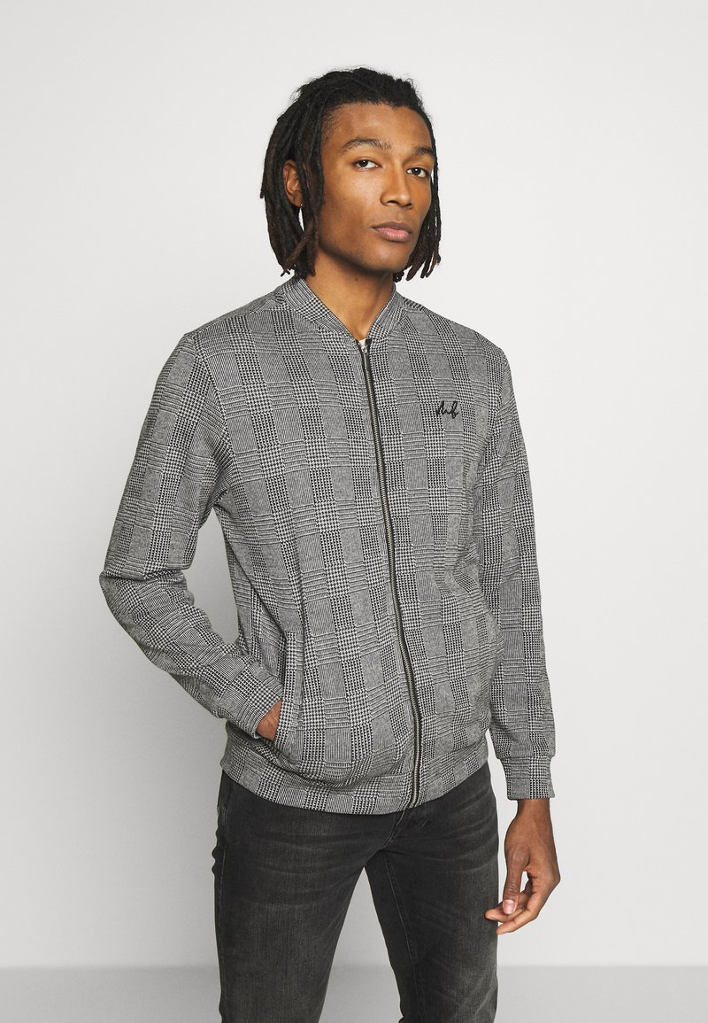 Burton Menswear London - CHECK BOMBER - Huvtröja med dragkedja - grey
