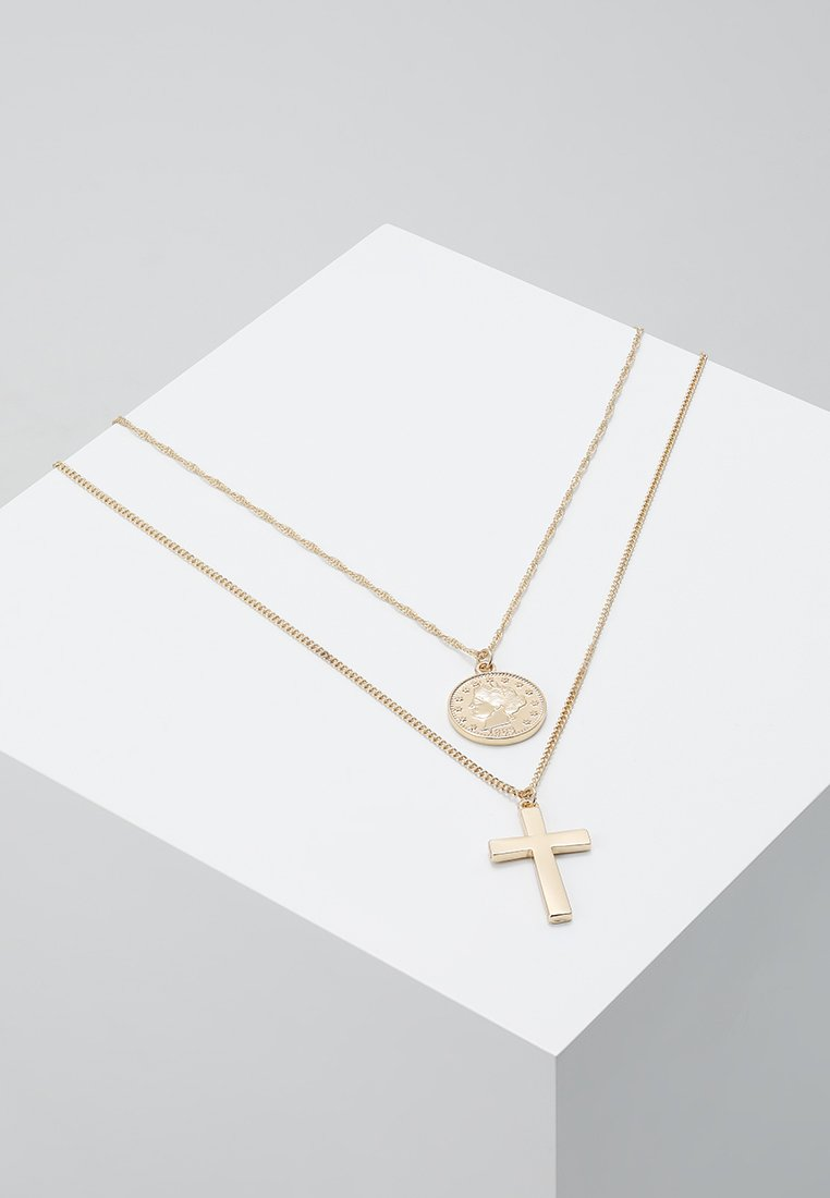 Burton Menswear London - COIN & CROSS MULTI ROW 2 PACK  - Necklace - gold-coloured