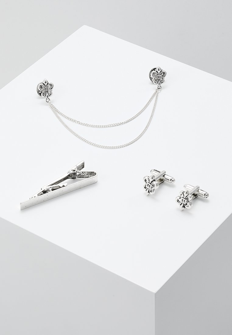 Burton Menswear London - FLEUR COLLAR TIP TIE PIN AND CUFFLINK SET - Other - silver-coloured