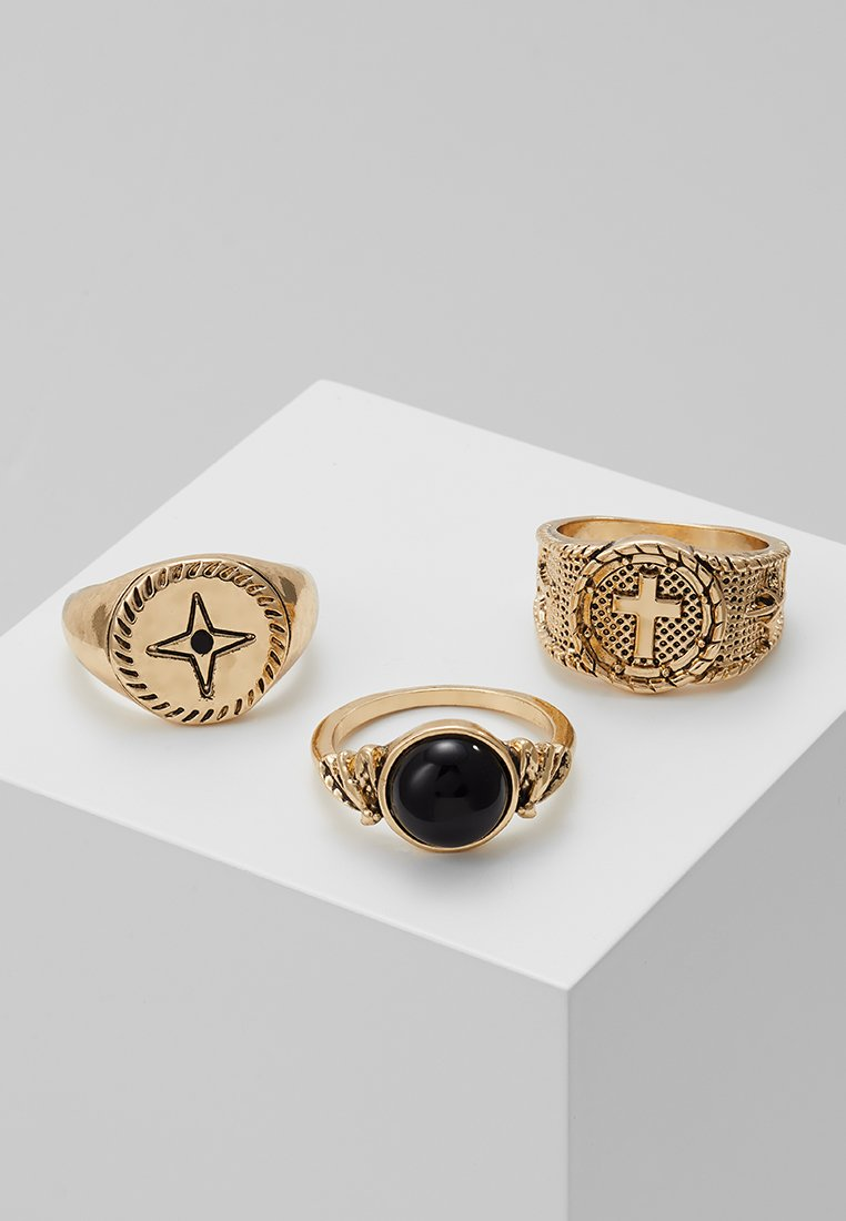 Burton Menswear London - CROSS AND STAR SIGNET SET - Anillo - gold-coloured