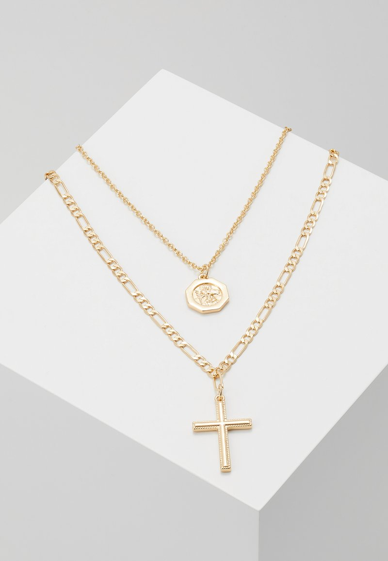Burton Menswear London - CROSS AND DISC CHAIN MULTIROW - Halsband - gold-coloured