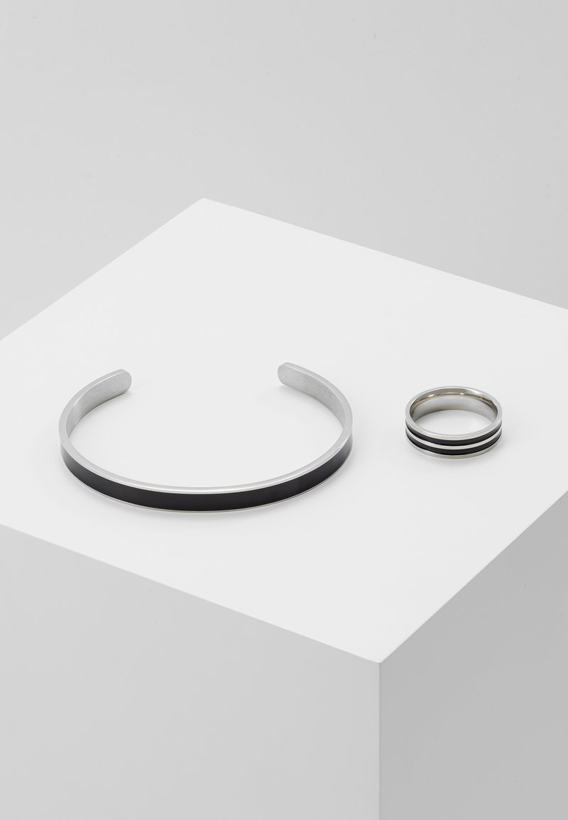 Burton Menswear London - BLACK ENAMEL CUFF AND RING - Armband - silver-coloured