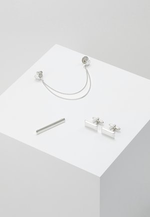 RECTANGLE COLLAR TIP CUFFLINK AND TIE PIN SET - Jiné - silver-coloured
