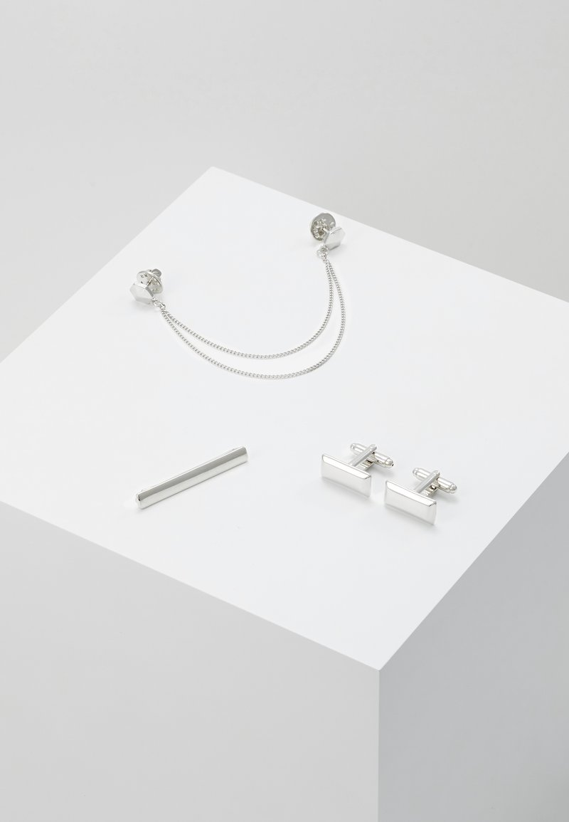 Burton Menswear London - RECTANGLE COLLAR TIP CUFFLINK AND TIE PIN SET - Accessoires - silver-coloured