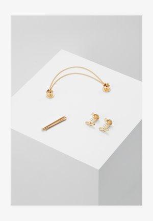 ENAMEL CIRCLE COLLAR TIP CUFFLINK AND TIE PIN SET - Övrigt - gold-coloured