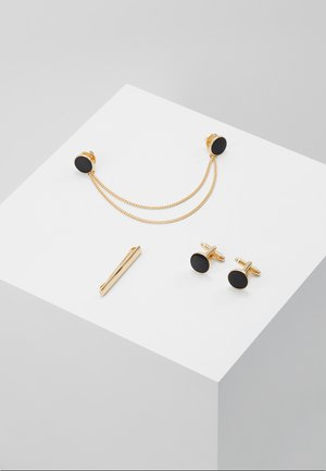 ENAMEL CIRCLE COLLAR TIP CUFFLINK AND TIE PIN SET - Jiné - gold-coloured