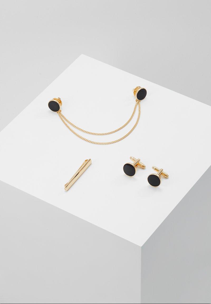 Burton Menswear London - ENAMEL CIRCLE COLLAR TIP CUFFLINK AND TIE PIN SET - Annet - gold-coloured