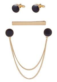 Burton Menswear London - ENAMEL CIRCLE COLLAR TIP CUFFLINK AND TIE PIN SET - Annet - gold-coloured - 3