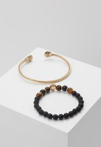 Burton Menswear London - LION BANGLE AND BEADS - Armband - gold-coloured/black - 2