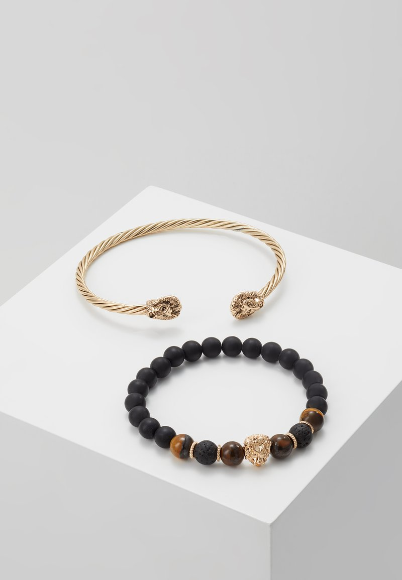 Burton Menswear London - LION BANGLE AND BEADS - Armband - gold-coloured/black