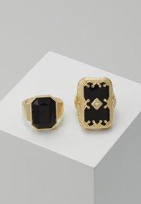 Burton Menswear London - ENGRAVE RHINESTONE 2 PACK - Prsten - gold-coloured - 0