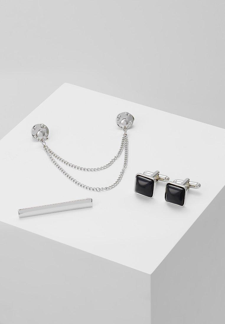 Burton Menswear London - COLLAR TIP,TIE PIN AND CUFFLINK SET - Gemelli - silver-coloured
