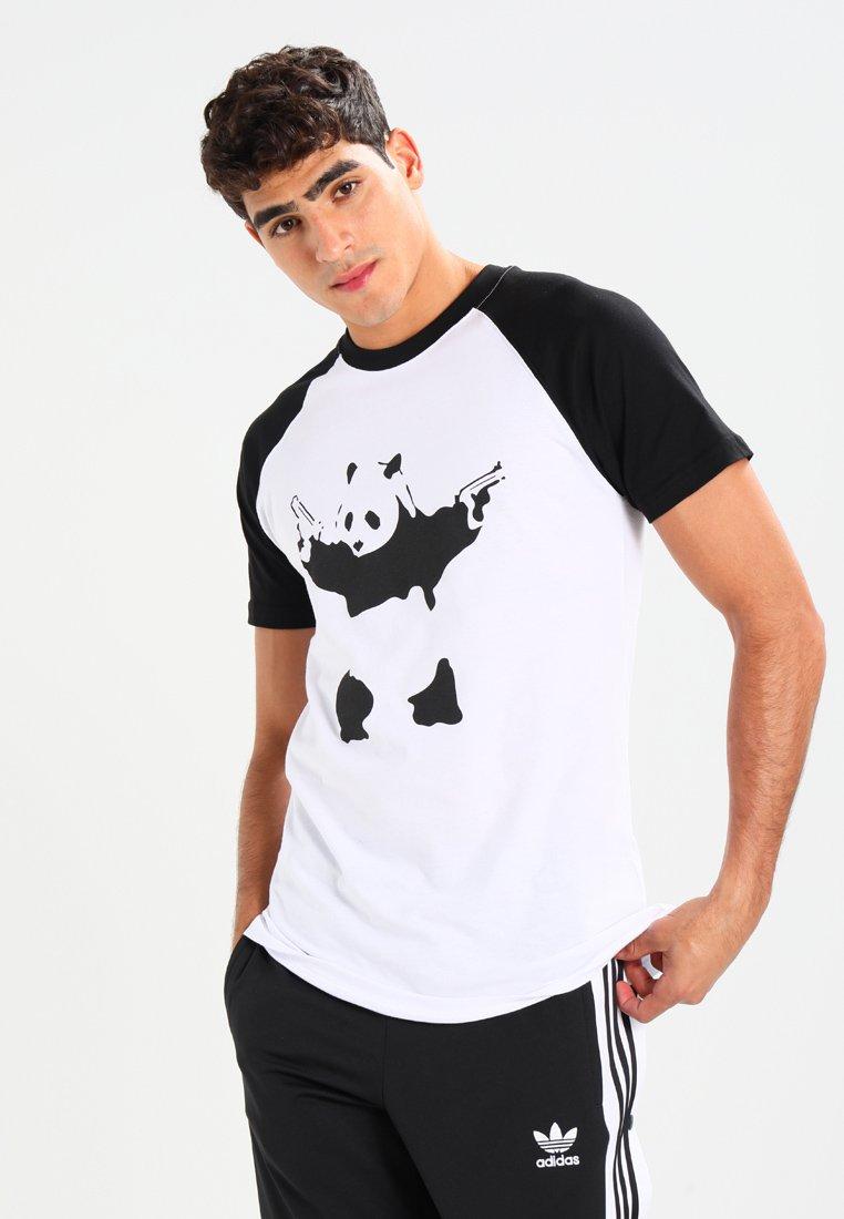 Mister Tee - BANKSY PANDA RAGLAN  - T-shirt print - white/black