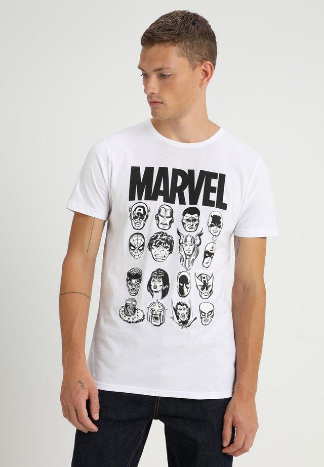 MARVEL COMICS MULTI HEADS - Print T-shirt - white