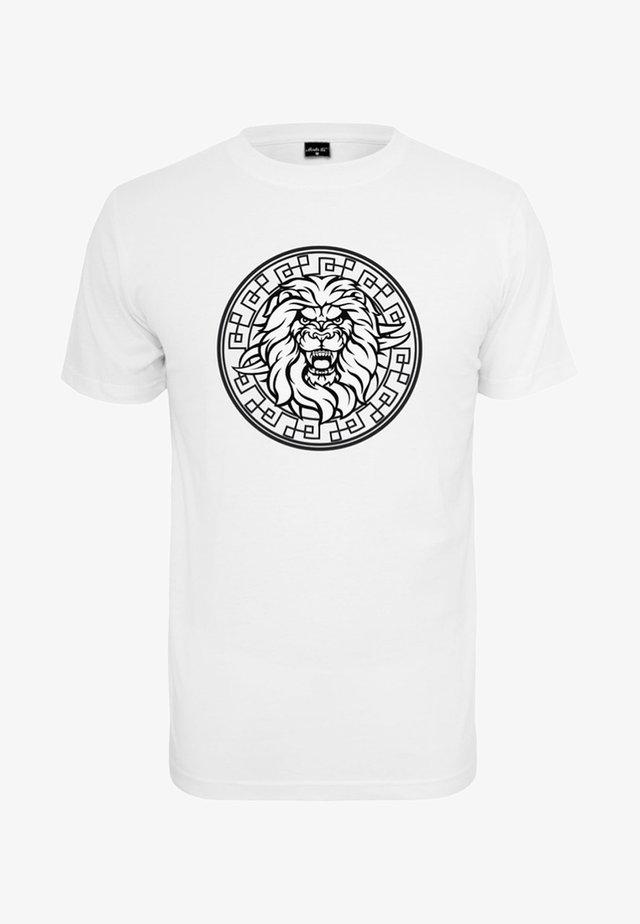 HERREN LION FACE TEE - T-shirt print - white