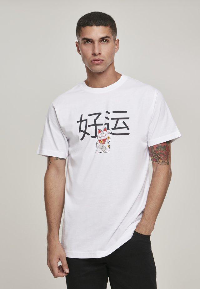 WAVING CAT - T-shirt z nadrukiem - white