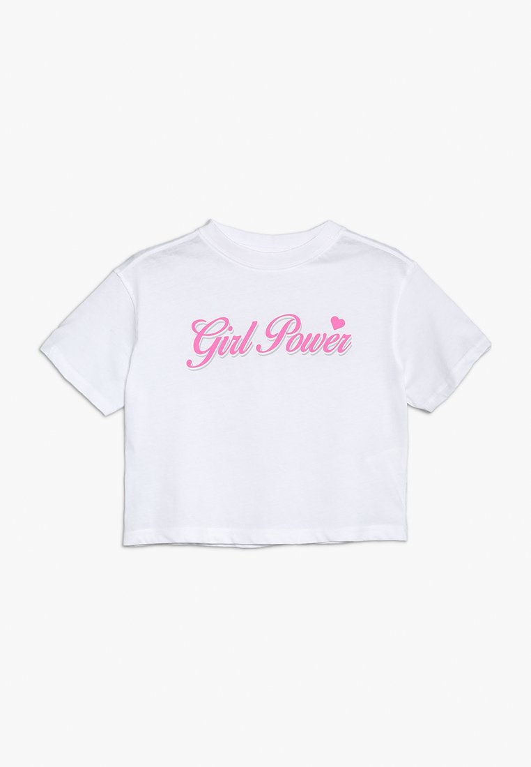 Mister Tee - GIRL POWER CROPPED TEE - Camiseta estampada - white